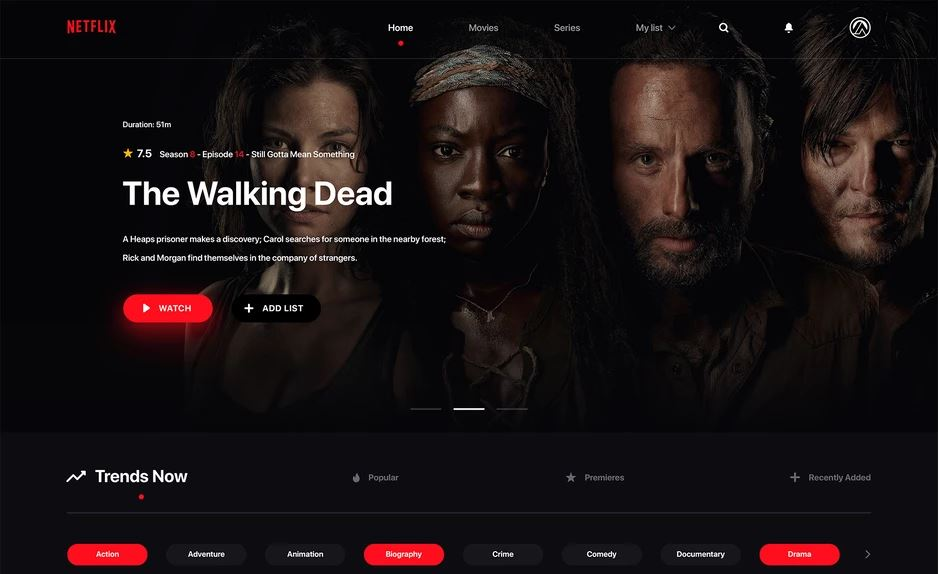Netflix Website Free PSD